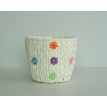 Round paper rope weaving flower basket