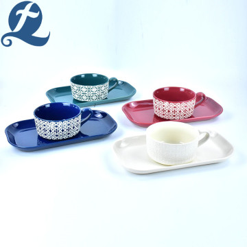 Ceramic Handle Soup Bowl Set With Rectangular Plate