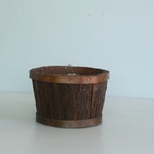 round wood bark collecting basket without handle