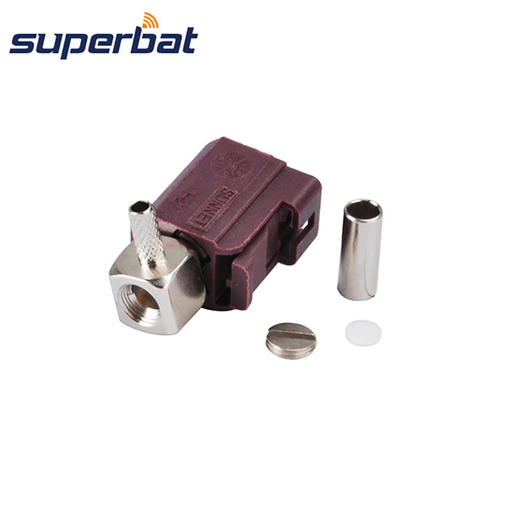 Superbat Fakra D Crimp Jack Connector Right Angle for Cable RG316 RG174 LMR100 for Violet Car GSM Cellular Phone