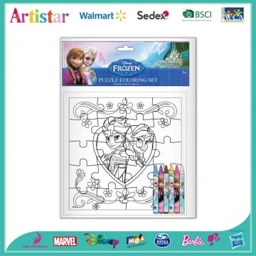Disney Frozen puzzle coloring set
