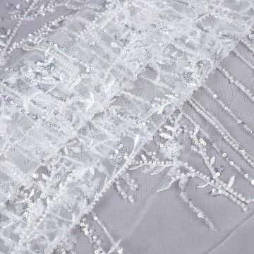 machine beaded lace fabric