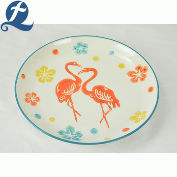 Wholesale custom emboss salad fruit printed ceramic plate