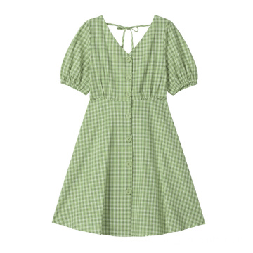 New Design Women Fashion Cotton Button Plaid Dress