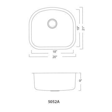 5052A Undermount Single Bowl Bar Sink