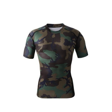Custom sublimation camouflage compression durable shirt