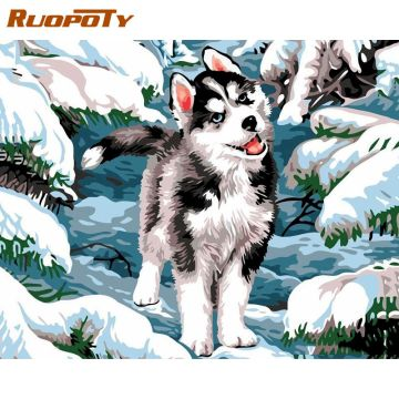 RUOPOTY Painting By Numbers Kits For Kids Siberian Husky On Snow Animal Oil Paint Unique Christmas Gift Framed Canvas Home Art
