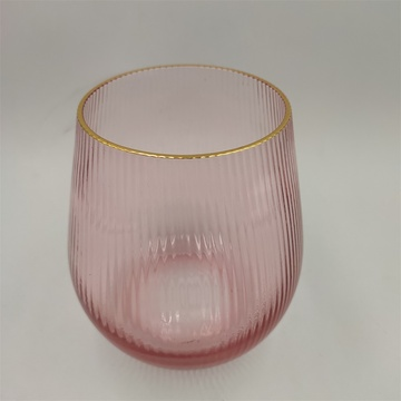 Hand Blown Pink Colored Glass Vase With Gold Rim