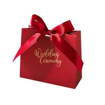 Red gift paper bag for wedding with ribbon