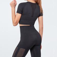 LANTECH Women Sports Suits Set Yoga Sets Gym Fitness Hollow Out Pants Sportswear Leggings Shirt Seamless Sports Active