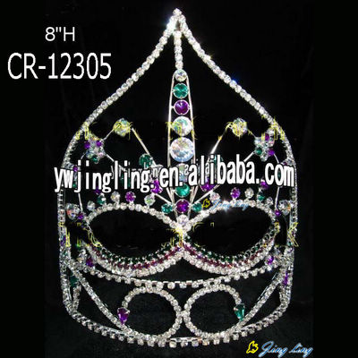 8 Inch Round Party Mask Crown Queen