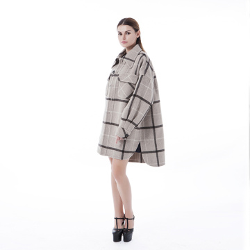 Fashion shirt style cashmere wool coat