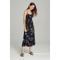 woven fashion tiers printed viscose ladies strapy dress