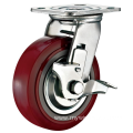 4'' Plate Heavy Duty PU Industrial Caster with PP Core With Side Brake