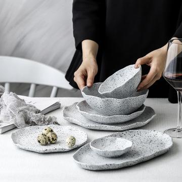 New Design Granite Pattern Ceramic Food Plate Dish Rice Salad Bowl Retro Porcelain Tray Household Tableware Dinner Plate Set