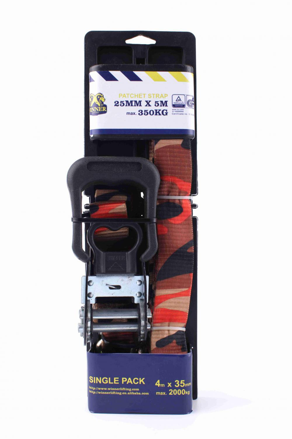 25mmX5M Plastic Board Package Ratchet Lashing Belt