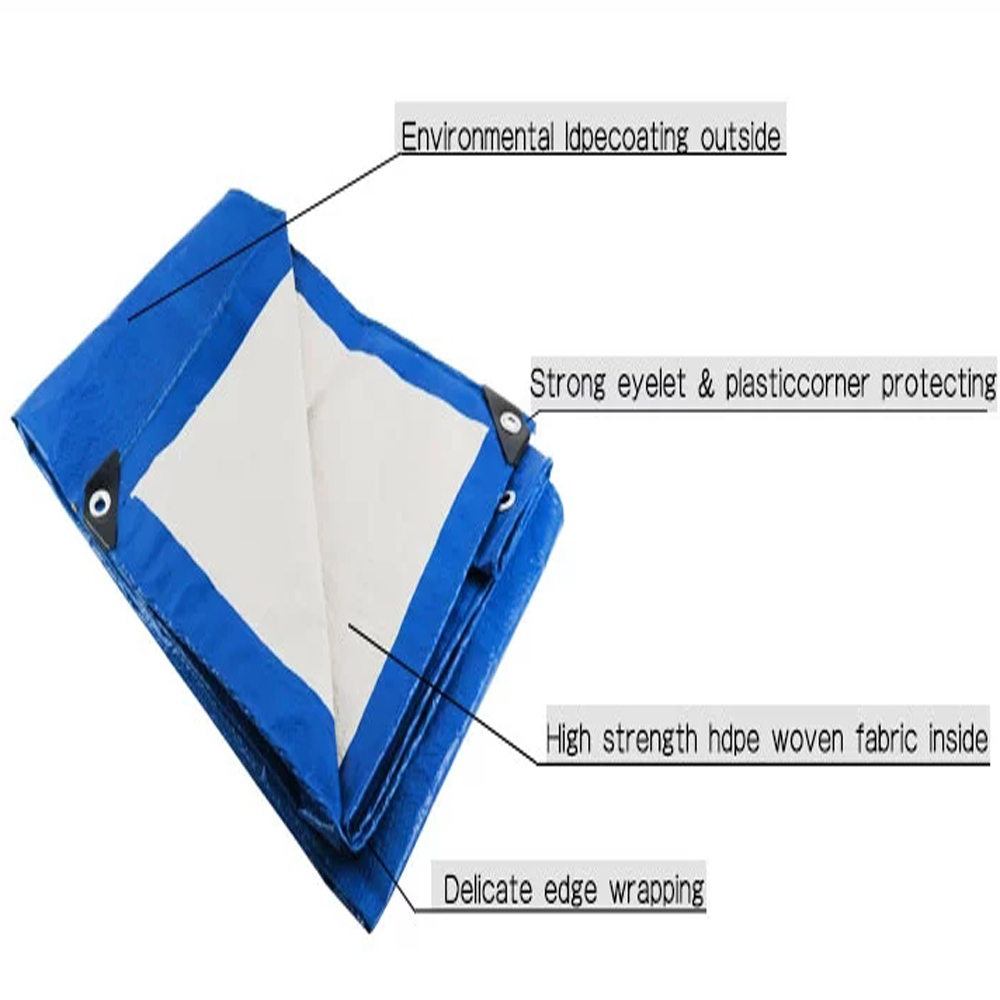 Blue White Tarpaulin Lorry Cover Shade Cover
