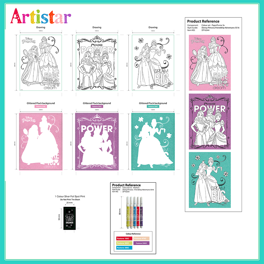Disney Princess Colouring Canvas Set 02