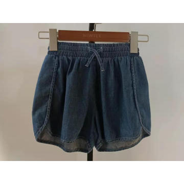 sports dark blue denim elastic waist girls shorts