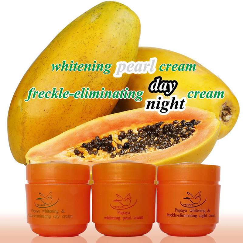 Papaya whitening cream for face anti freckle day night & pearl cream 3 pcs in 1 box