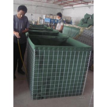 Sand wall defensive barrier filled military box gabion
