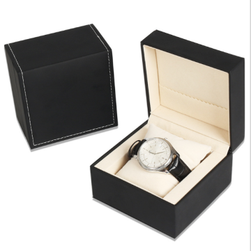 Luxury PU hinged watch box nga adunay unlan