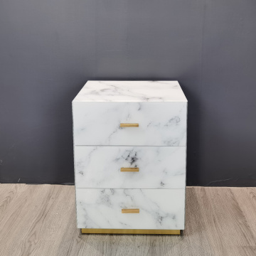 Hongsing Marble Texture Glass Bedside Table Small Bedside