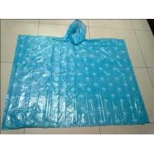 All over printing blue PE poncho