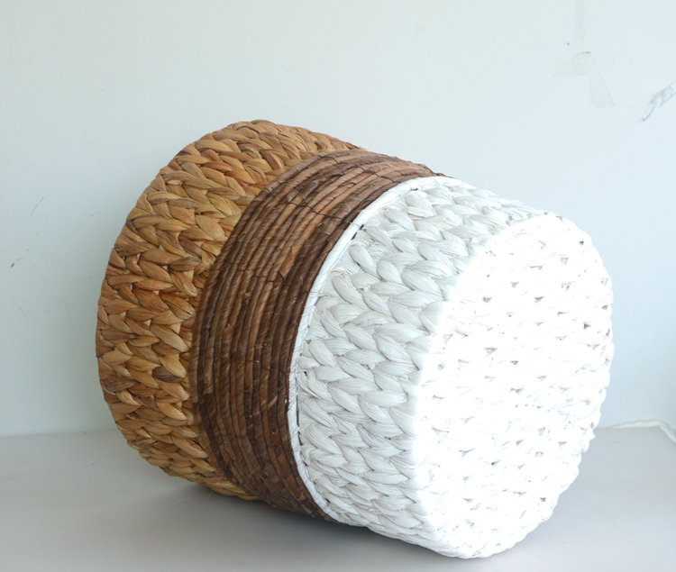 Round water hyacinth and maize rope storage basket-6
