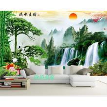 3D mural bedroom living room sofa background wall Fengshui Landscape Painting Wallpaper treasure pot water making money