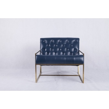 blue leather thin frame lounge chair