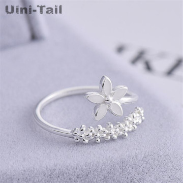 Uini-Tail hot new 925 sterling silver sweet plum blossom opening ring small fresh fashion trend cute high quality jewelry ED569