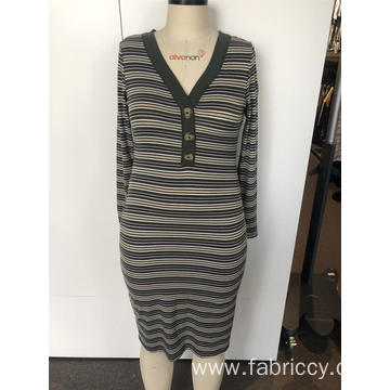V-neck striped long knit dress