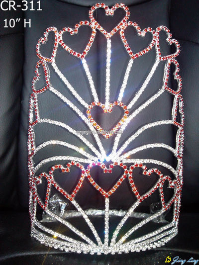 "10"" Large Heart Holiday Valentine's Day Pageant Crown"