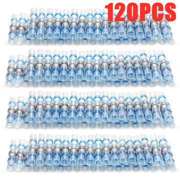 120PCS Waterproof Solder Seal Sleeve Splice Terminals Blue Heat Shrink Electrical Wire Butt Connectors AWG 16-14/1.0-2.5 mm2