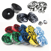 1pair Road Bike Bicycle Handlebar Tape Camouflage Cycling Handle Belt Cork Wrap With Bar Plugs Bicycle Accessories