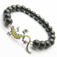 Hematite 8MM Round Beads Stretch Gemstone Bracelet with Diamante alloy lizard Piece