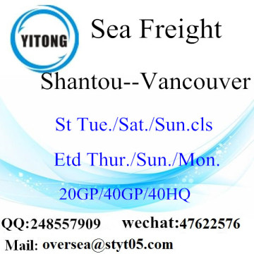 Shantou Port Sea Freight Shipping To Vancouver