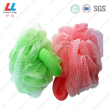 Handle loofah pouf shower scrubber sponge