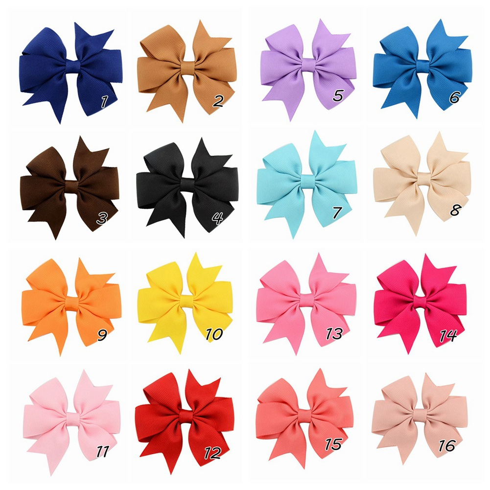 Plain ribbed ribbon fish-tail bow hair clip (5)