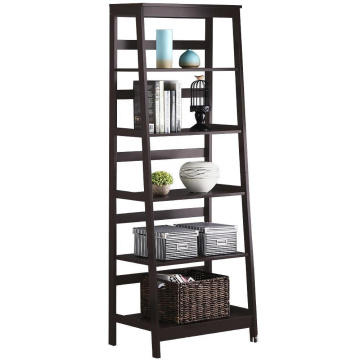 5-Tier A Frame Wood Ladder Bookshelf Multifunctional Storage Rack Display, Dark Espresso