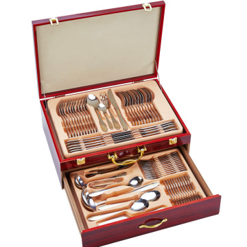 72pcs Cutlery Set With  Wood Box