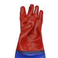 Red glossy PVC raincoat with sleeve gloves 60cm