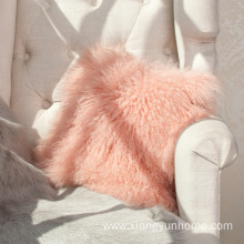 Lamb Fur Pillow Double Sided Fur Baby Pink