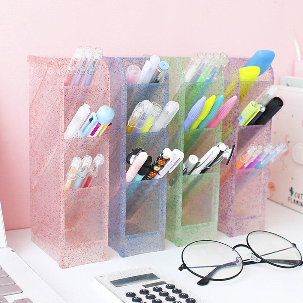 Oblique insertion tassel flashing chalk holder desk desktop storage box stationery rack transparent cosmetic brush