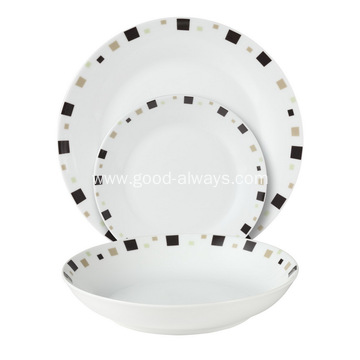 18 Piece Coupe Porcelain Tableware Dinner Set  Geometric