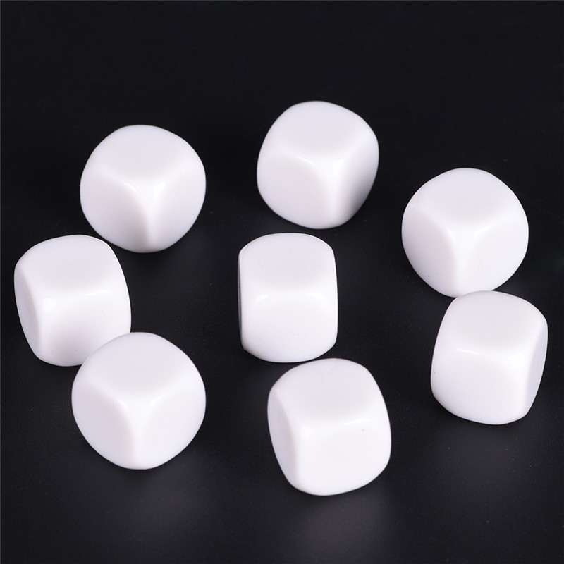 White 10PCS/Lot 16mm Gaming Dice Standard Six Sided Round Corner Die RPG For Birthday Parties Other Game Accessories