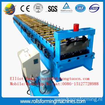 Metal floor decking machine