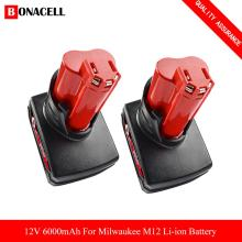 6.0Ah 12V Power Tool Li-ion Battery for Milwaukee M12 C12 XC 48-11-2440 48-11-2402 48-11-2411 48-11-2401 Replacement Battery