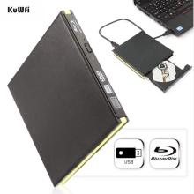 KuWFi USB 3.0 Blu-ray Burner Drive BD-RE External DVD Recorder DVD-RAM 3D Player for Laptop/PC
